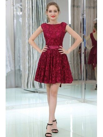 Modest High Neck Cocktail Lace Prom Dress In Burgundy