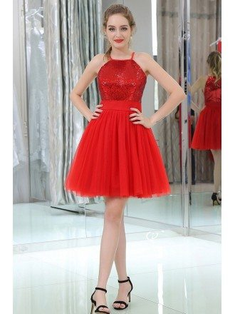 Strapless Little Red Sequined Tulle Prom Dress In Cocktail Length