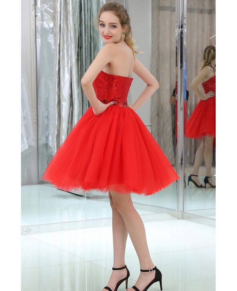Red Cocktail Sequined Tulle Prom Dress With Vintage Halter