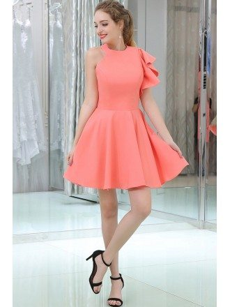 Watermelon Short Satin Evening Dress With One Shoulder Sleeve