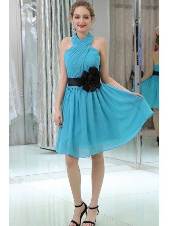 Pleated Chiffon Teal Short Halter Prom Dress With Black Sash