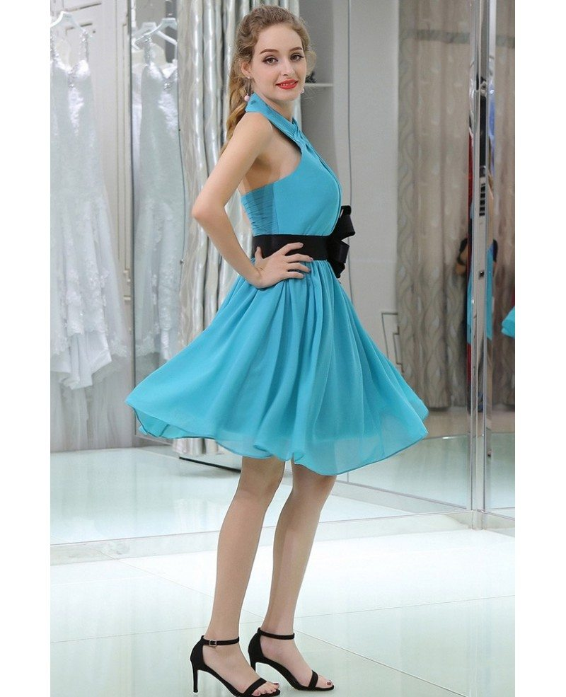 pleated chiffon teal short halter prom dress with black