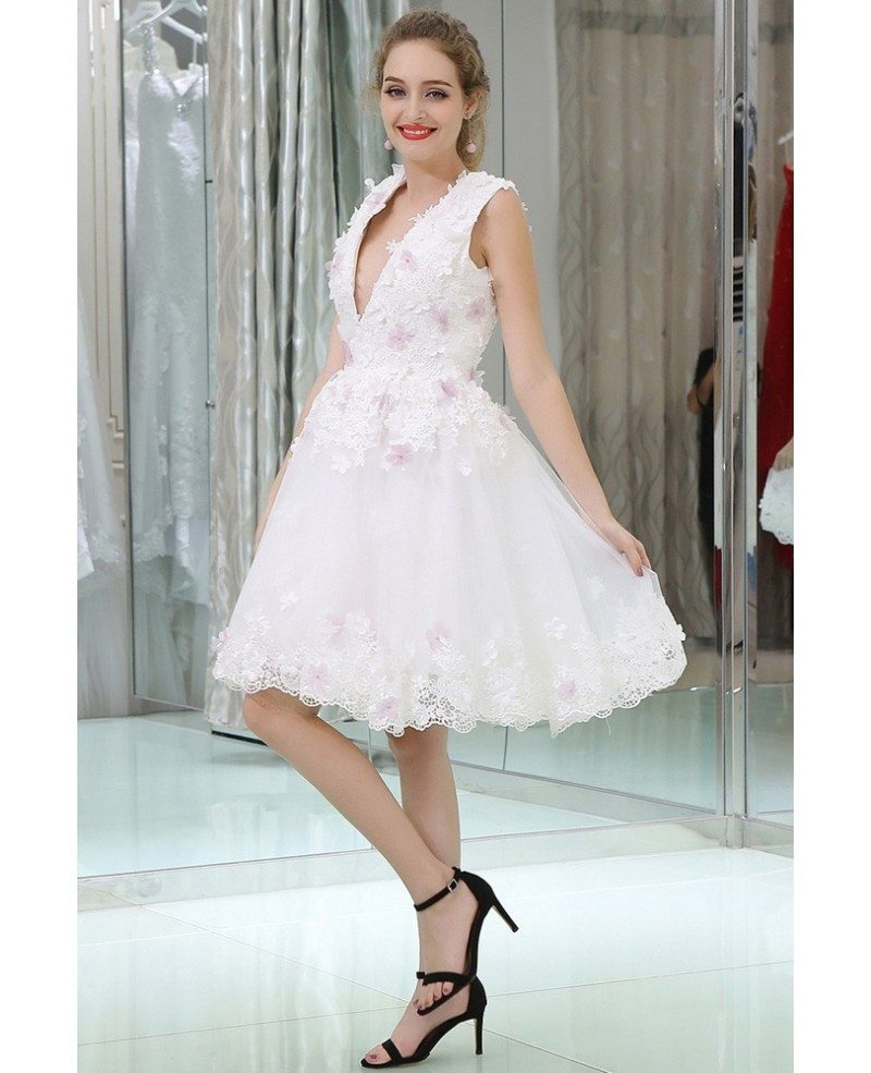 White Lace Deep V Short Prom Dress With Hand Made Flowers B061