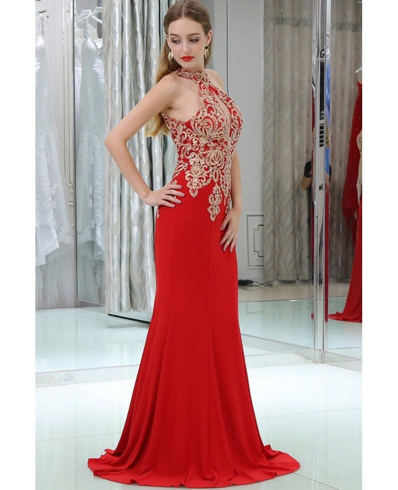 Long Halter Mermaid Little Trained Red Prom Dress With
