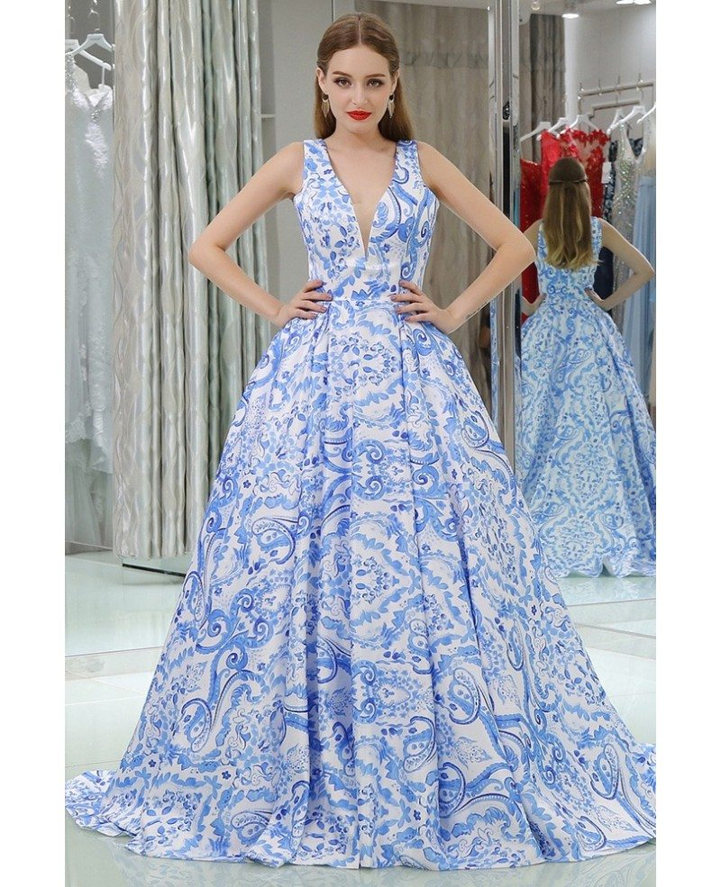 Gorgeous Long V Floral Print Blue Prom Gown With Sweep Train #B064 ...