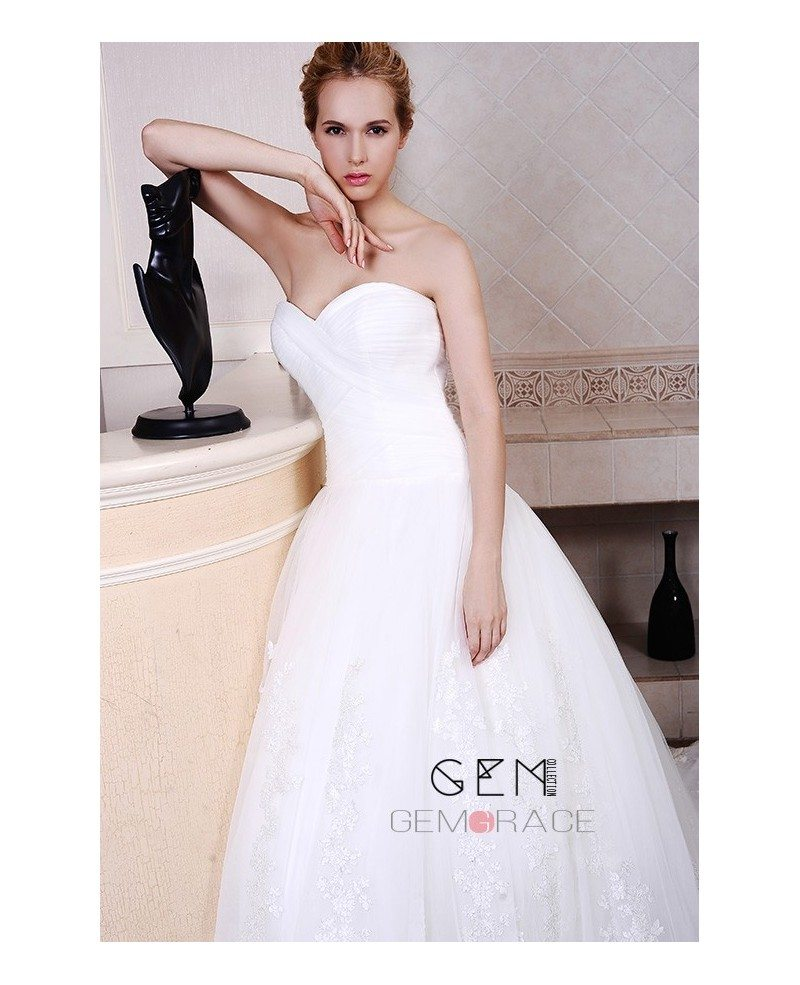Ball-Gown Sweetheart Chapel Train Organza Wedding Dress With ...