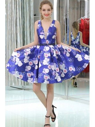 Special Printed Floral Short Beaded Evening Dress With Deep V Neck