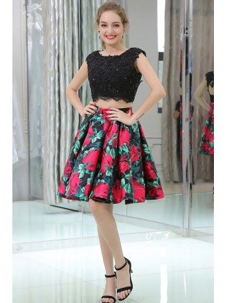 cheap formal lace floral short dress