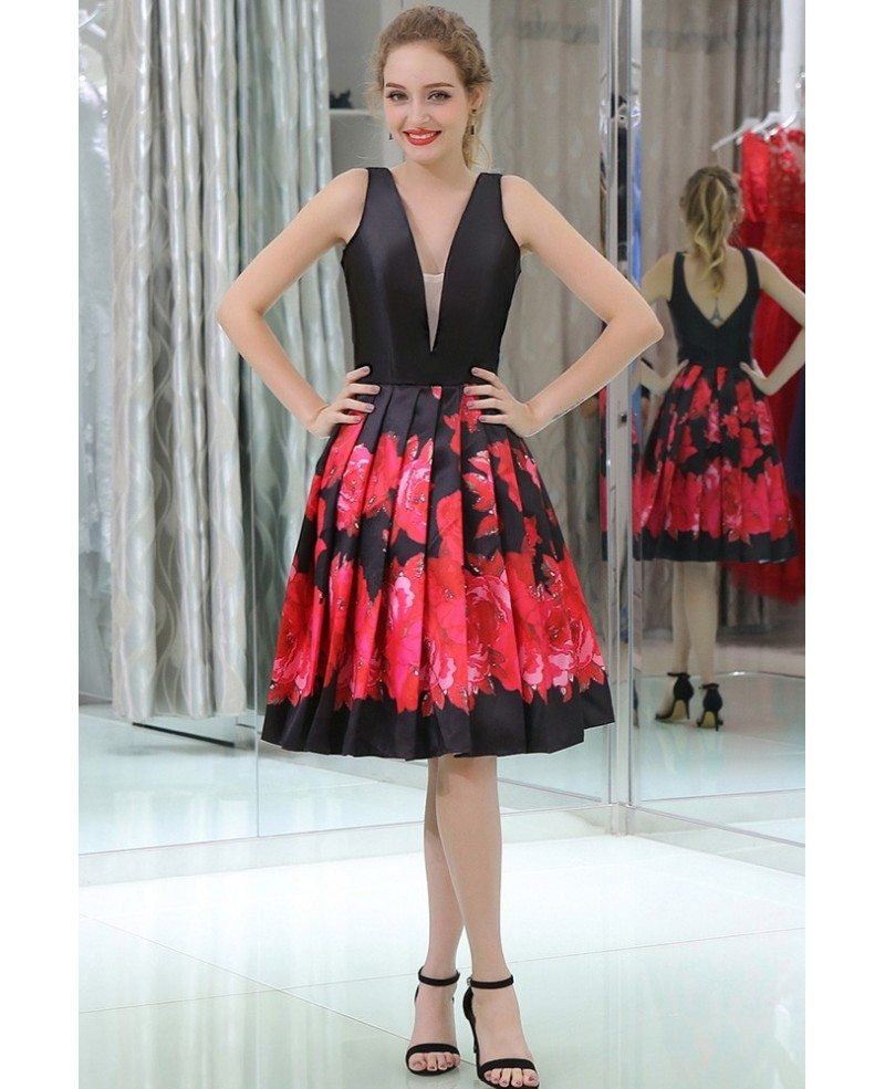 Black And Red Printed Short Satin Pleated Evening Dress With Deep V ...