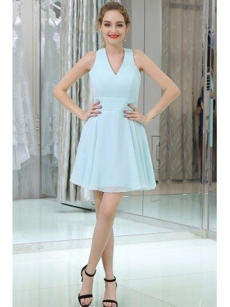 Light Blue Short Cocktail Prom Dress With Cross Back