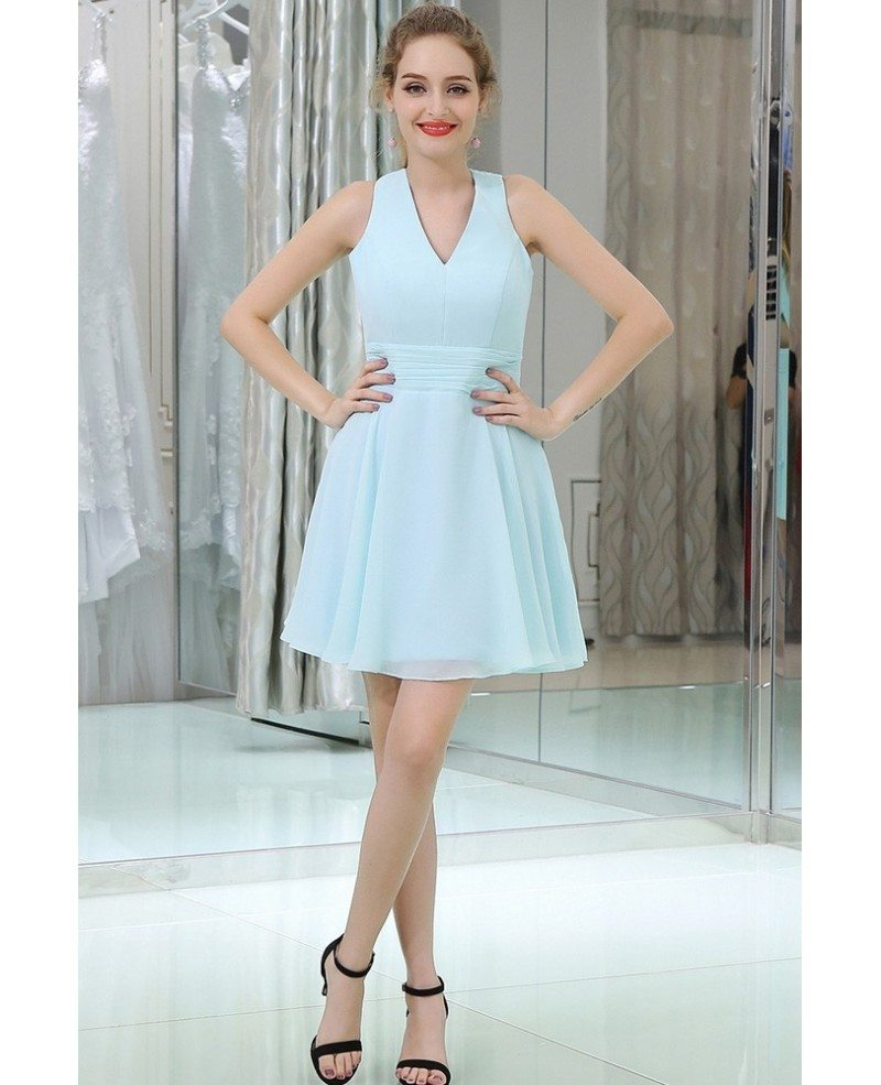 Light Blue Short Cocktail Prom Dress With Cross Back #B059 ...