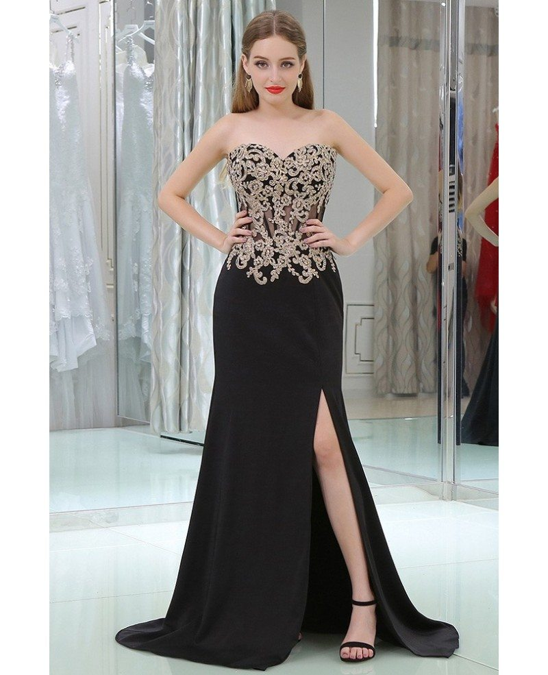 Applique Lace See Through Black Prom Dress With Split Front #B003 ...