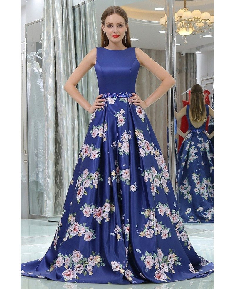 Floral Printed Royal Blue Beaded Satin Evening Gown For Prom Girls ...
