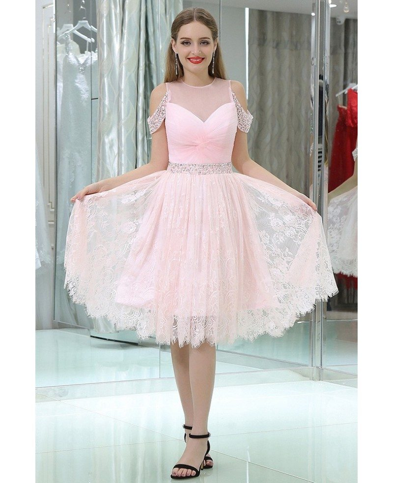 Girls Short Pink Lace Beaded Prom Dress With Off Shoulder Straps ...