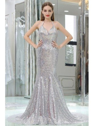 Sparkly Silver Sexy Sequined Mermaid Prom Dress With Long Train