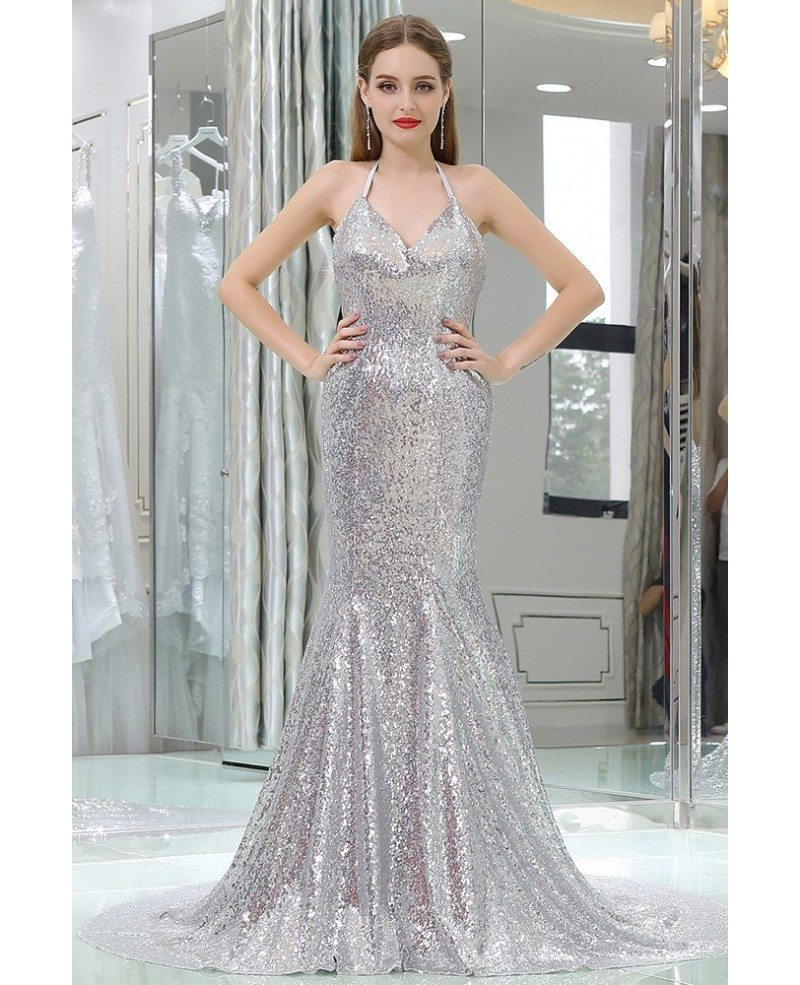 Sparkly Silver Sexy Sequined Mermaid Prom Dress With Long