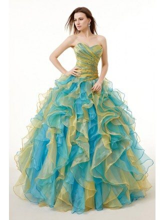 Ballgown Ruffles Two-Tone Colored Quinceanera Dress with Corset