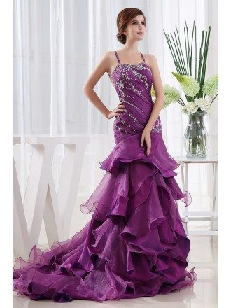 A-line Strapless Sweep Train Tulle Wedding Dress With Beading