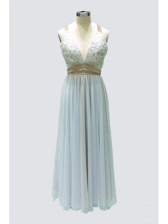 Boho A Line Floor-length Chiffon Beach Wedding Dress With Open Back