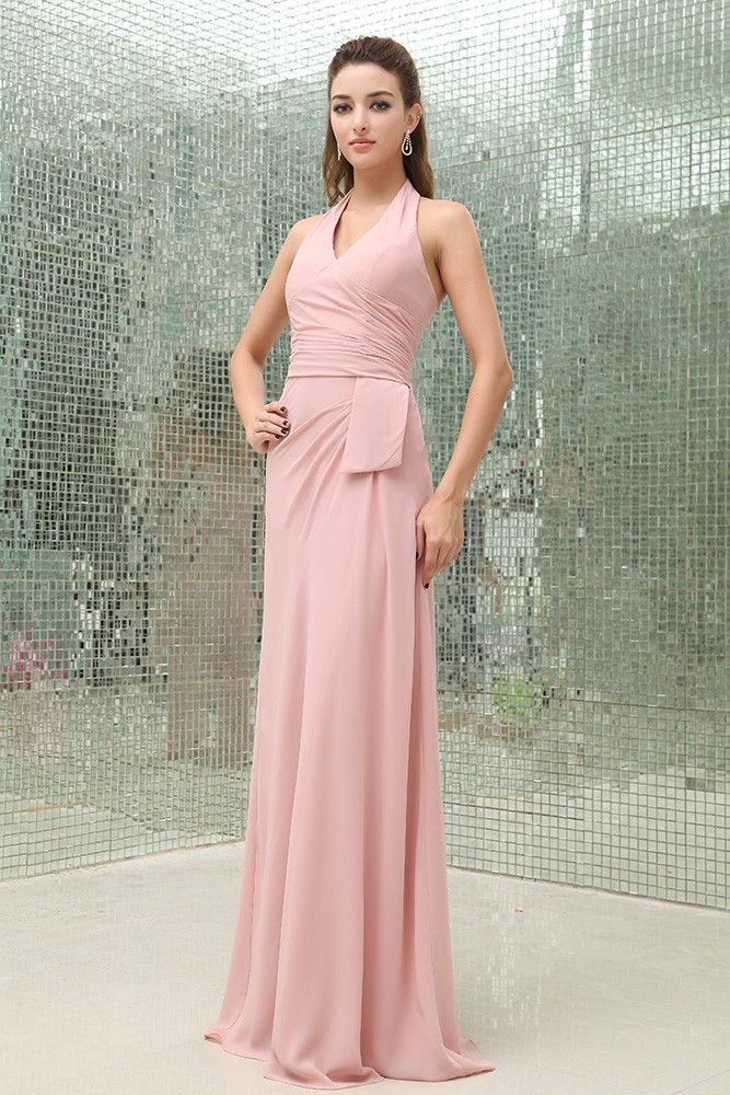 Sheath halter floor length chiffon bridesmaid dress for Plus size wedding dresses in wichita ks