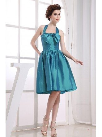 A-line Halter Knee-length Satin Bridesmaid Dress