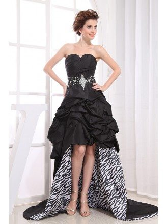 Black A-line Sweetheart Asymmetrical Satin Wedding Dress With Beading