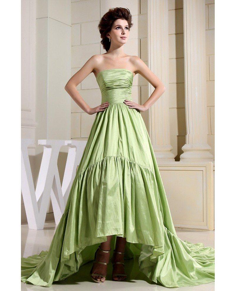 Green Ball-gown Strapless Asymmetrical Satin Wedding Dress