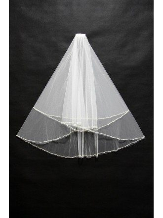 Short White Bridal Veil with Beading 2 Layers