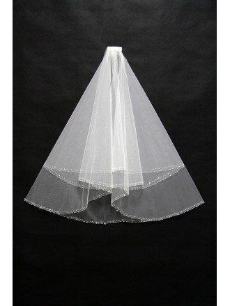 Simple Short Ivory Wedding Veil with Beading Hem