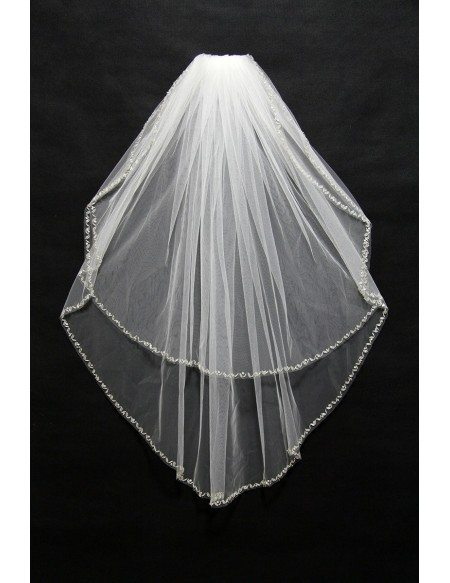 Simple White Tulle Bridal Veil With Beaded Hem Bv004