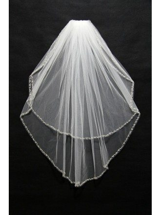 Simple White Tulle Bridal veil with beaded hem