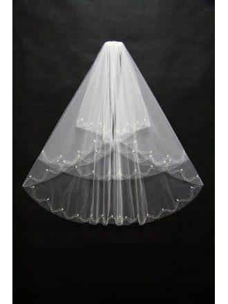 Beautiful Short White Bridal Veil with Wavy Beading