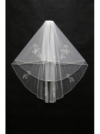 Beautiful Short White Beading Wedding Veil in Waist Length