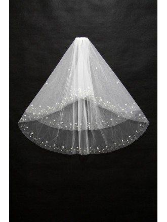 Beautiful Short White Wedding Veil with Beading