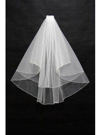 Beautiful Short Beaded Wedding Veil with Wavy Hem