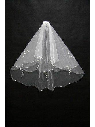 Simple Short Beaded Bridal Veil in Elbow Length
