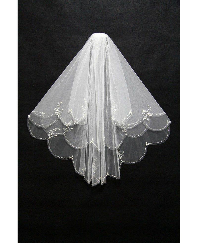 Two Layers Short Beading Wedding Veil #BV012