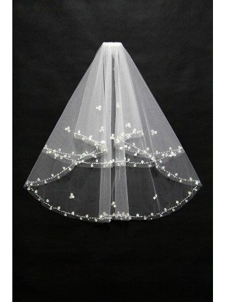 Tulle Beaded Simple Bridal Veil in Ivory