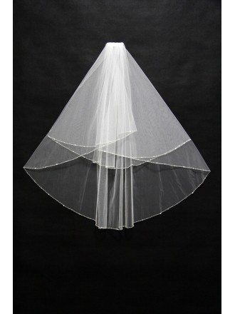 Two layers Simple Tulle Wedding veil with Sequin Hem