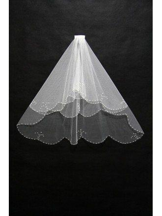 Elegant Short Ivory Wedding Veil with Beading