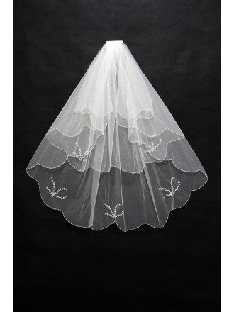 3 layers short Wedding veil with Beading