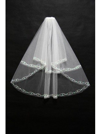 2 layers short Wedding veil with Beading Trim