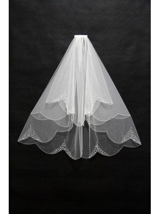 Elegant Short Tulle Beaded Wedding Veil with Comb