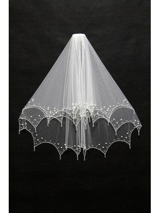 Simple Elegant Short Tulle Wedding Veil with Beading