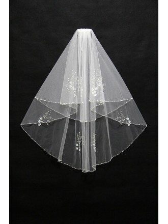 Gorgeous Comb Beading Bridal Veil in Ivory