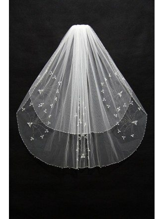2 layer short bridal veil with Beading