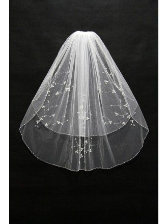 2 layer short bridal veil with Beading Trim
