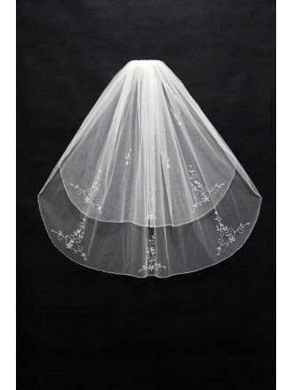 Elegant White Beaded Tulle Wedding Veil with Comb