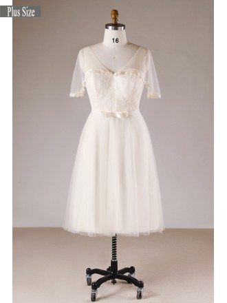 Champagne Simple Plus Size Knee Length Short Tulle Wedding Dress