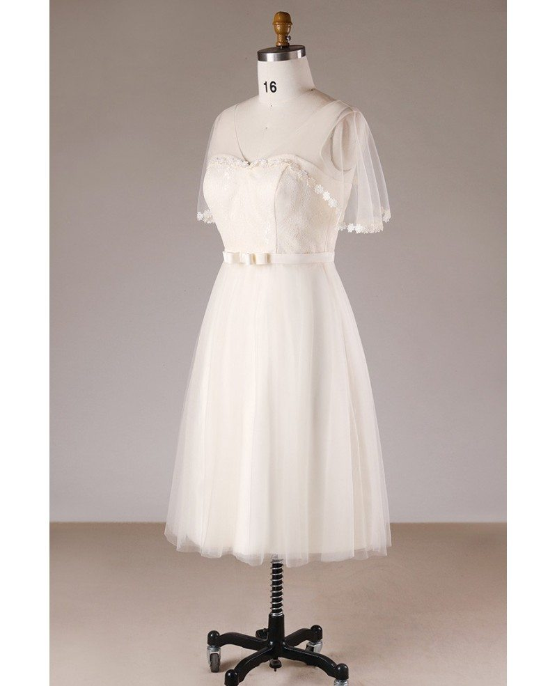 Champagne simple plus size knee length short tulle wedding for Plus size wedding dresses short